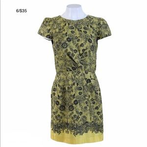 TOPSHOP black and yellow floral dress cap sleeves